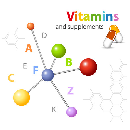 Vitamin supplements - molecular structure - medical technology Vector