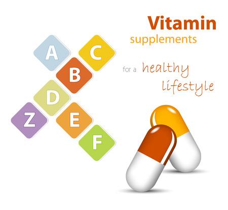 nutritional: Vitamins - nutritional supplements Illustration