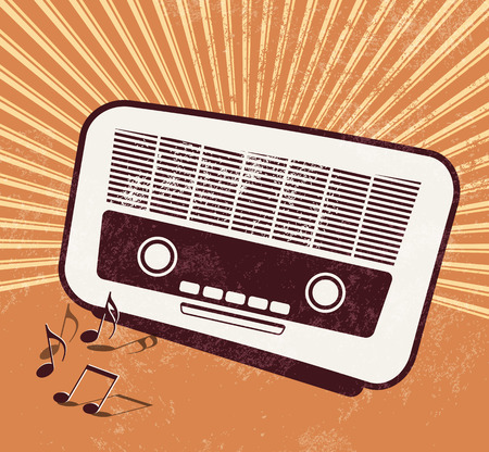 Old radio - retro style - music poster design Vector