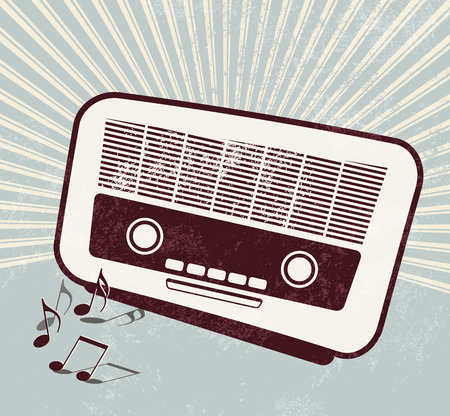 Retro poster - old radio - music template Vector