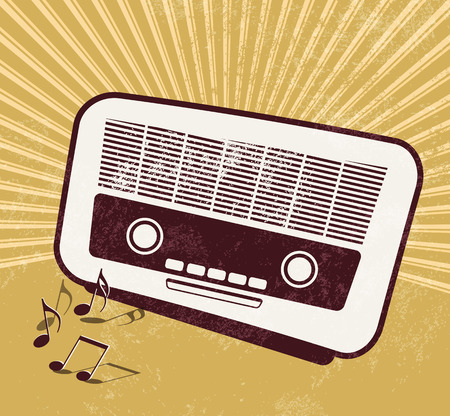 Retro music background - old radio Vector