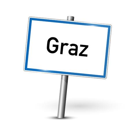 ortseingangsschild: Ortsschild - Graz - �sterreich Illustration