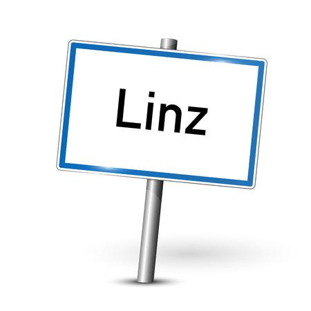 ortseingangsschild: Stadtzeichen - Linz - Österreich Illustration