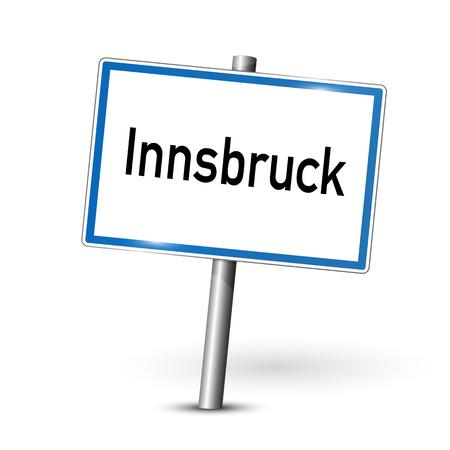 ortseingangsschild: Stadtzeichen - Innsbruck - Tirol, Österreich