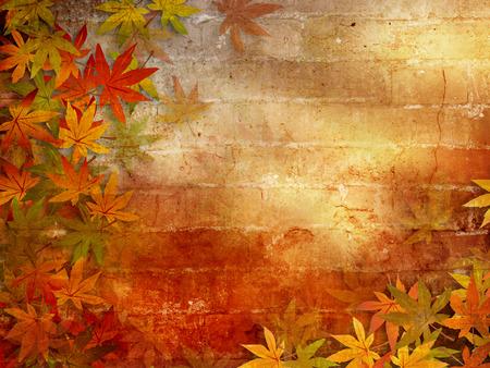 hojas antiguas: Oto�o de fondo con hojas de oto�o marco