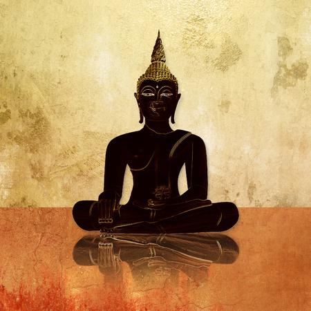 budha: Buddha silhouette against grunge background wall