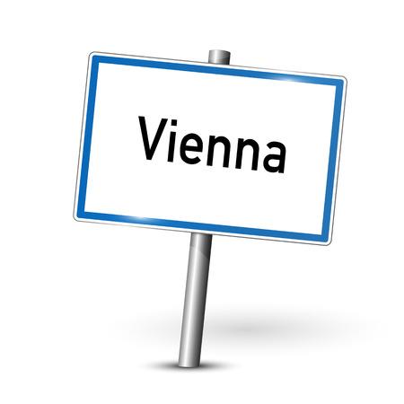 ortseingangsschild: Ortsschild - Wien - Österreich Illustration
