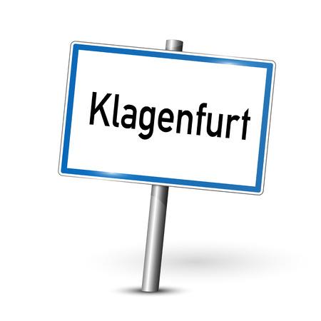 ortseingangsschild: Ortsschild - Klagenfurt - Kärnten, Österreich Illustration