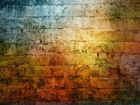 빛나는 빛이 어두운 벽돌 벽 배경 질감