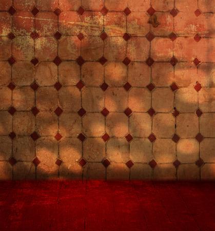 Grunge tiled wall background with wooden floor - mediterranean terracotta room design photo