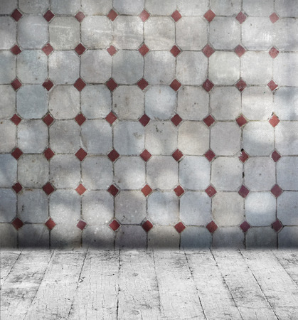 Grunge grey room with mosaic wall tiles and old floorboard photo