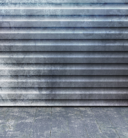 floorboard: Grunge room with blue gray corrugated steel wall and old floorboard - abstract industry background with container texture