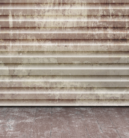 Grunge concrete room design - abstract industrial rusty wall texture with old floor photo