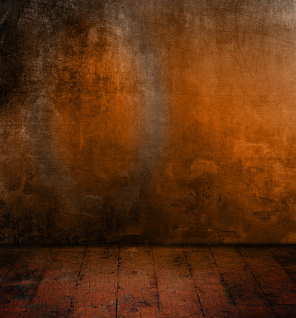 Grunge dark background - abstract room design with concrete wall and old wood floor photo