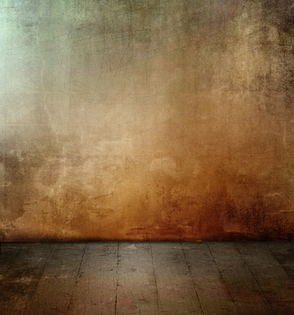Dark grunge room with colored concrete wall texture and old floor photo