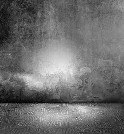 dark room: Dark room - grunge black gray concrete background wall texture with metal floor Stock Photo