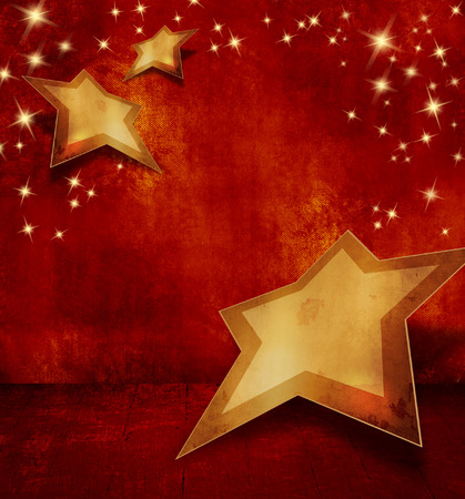 Red Christmas background with sparkling stars photo