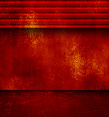 floorboard: Grunge red room with open shutter and old floor