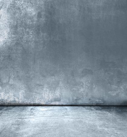 グランジ灰色青い部屋のデザイン - コンクリートの抽象的な背景テクスチャ