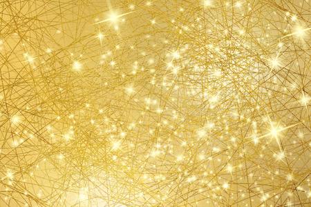 Sparkle achtergrond - gouden textuur met sterren - abstracte Kerstverlichting Stockfoto