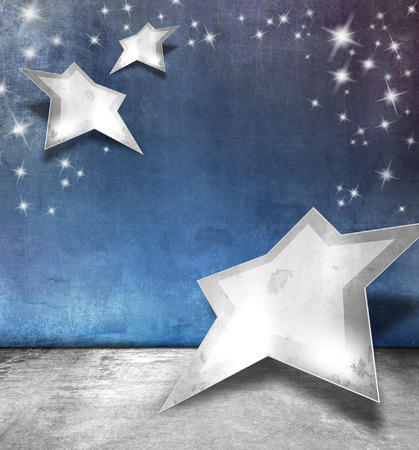 Silver blue stars background with sparkle lights - abstract Christmas template photo