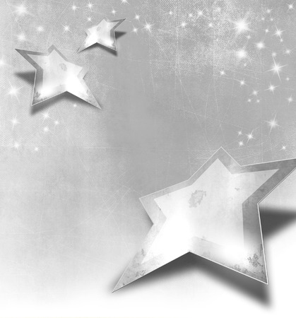 Silver gray stars with sparkle lights in vintage style photo