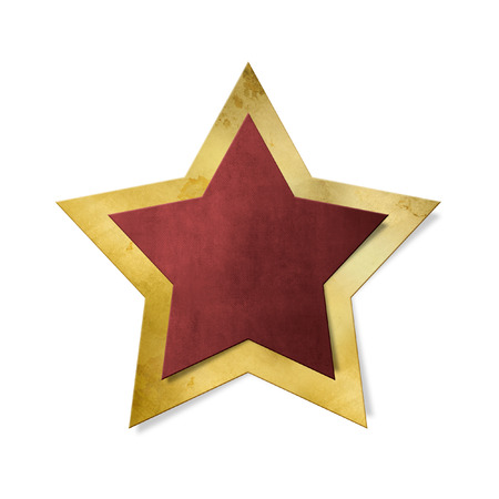 star path: Red star with gold frame isolated, clipping path included