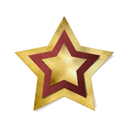 star path: Shiny gold star with red frame isolated, clipping path included Stock Photo