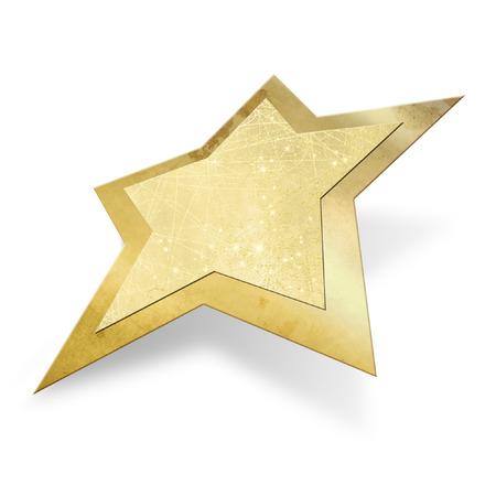 star path: Gold Christmas star isolated, clipping path included