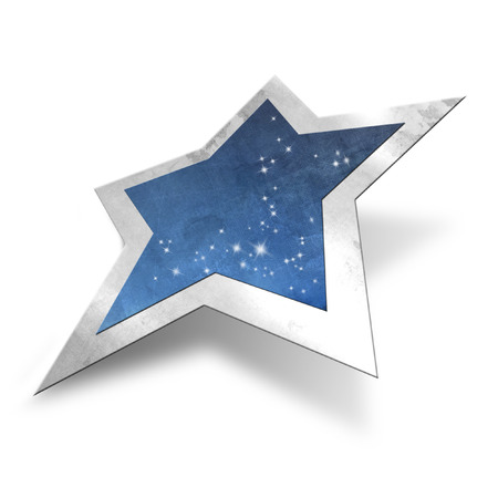 star path: Sparkling blue star with silver frame isolated, clipping path included Stock Photo