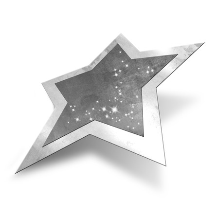 star path: Sparkling silver star isolated, clipping path included