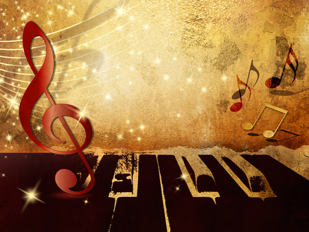 Music background with piano keys, music notes and treble clef photo