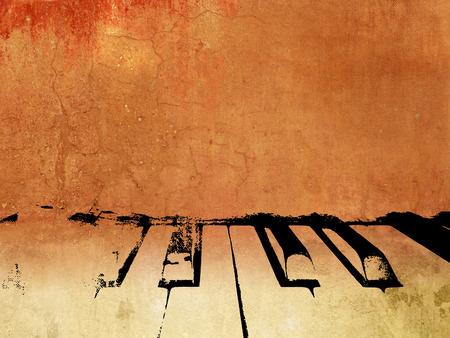 Retro achtergrond muziek met abstracte pianotoetsen Stockfoto