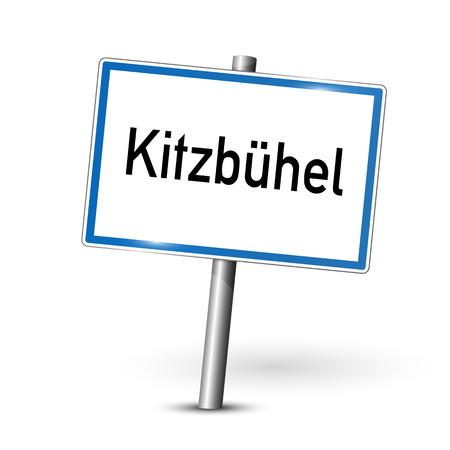 ortseingangsschild: Stadt Zeichen - Kitzbühel - Österreich