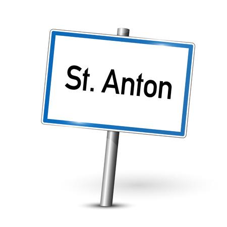 ortseingangsschild: Stadt Zeichen - St. Anton - Österreich