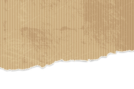 corrugated cardboard: Torn paper background - corrugated cardboard texture with ripped edges Illustration
