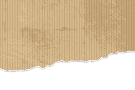 blatt: Zerrissenes Papier Hintergrund - Wellpappe Textur mit zerrissenen Kanten Illustration
