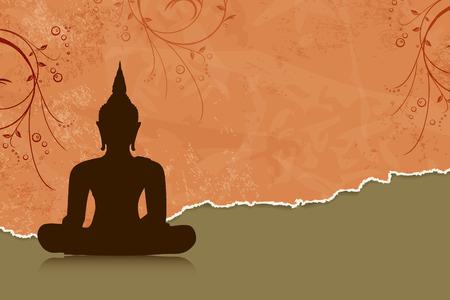 bouddha: Bouddha silhouette sur fond orange de fleurs