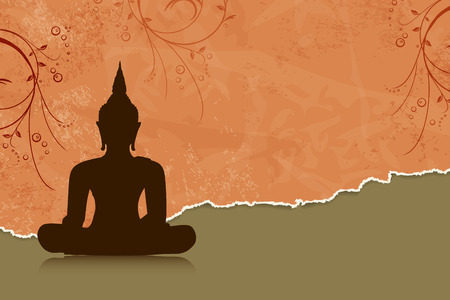 buddha lotus: Buddha silhouette against orange flower background Illustration