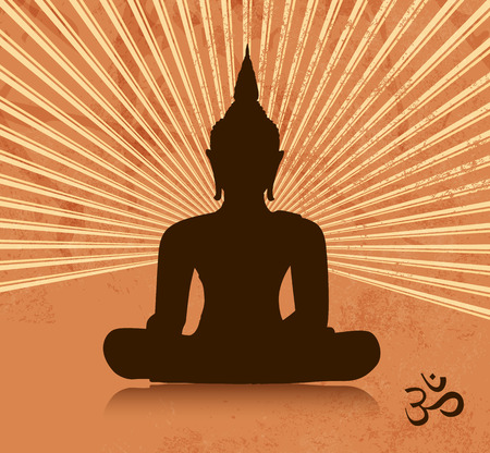 thai buddha: Silueta de Buda tailand�s en posici�n de loto