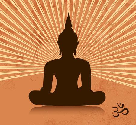 budda: Thai buddha silhouette in lotus position