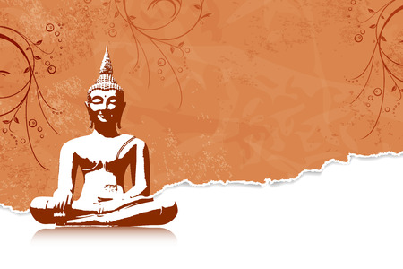 Thai culture concept with buddha silhouette Vector