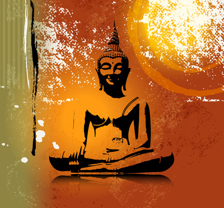 position: Buddha silhouette in lotus position against colorful grunge background