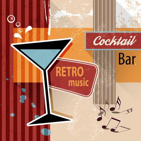 Sala cocktail bar - sfondo poster retrò per eventi di partito o menu di bevande Archivio Fotografico - 36948174