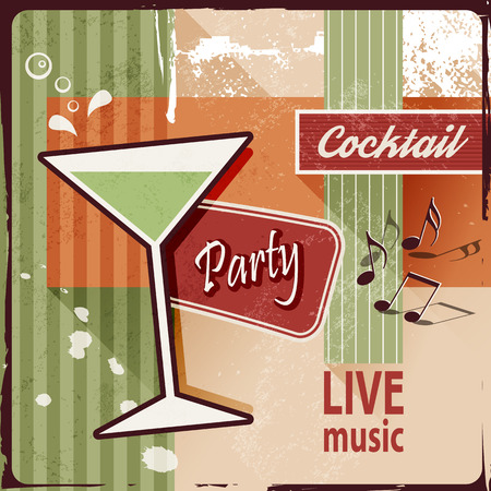 Cocktail party invitation with music notes - vintage poster design Vettoriali