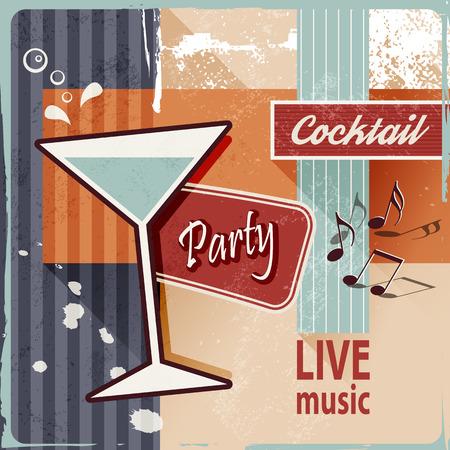locandina arte: Retro cocktail party - poster d'epoca Vettoriali