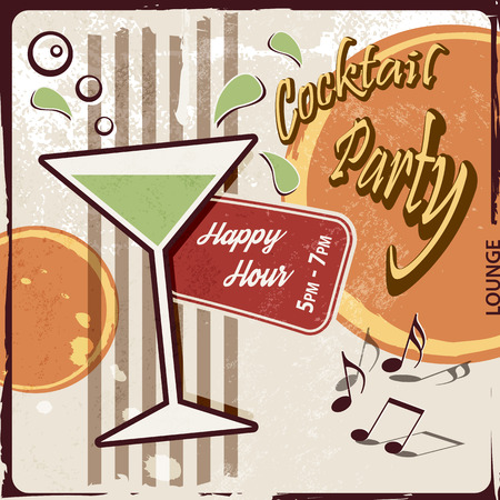 hour glass: Retro party background with cocktail glass - Happy Hour drink