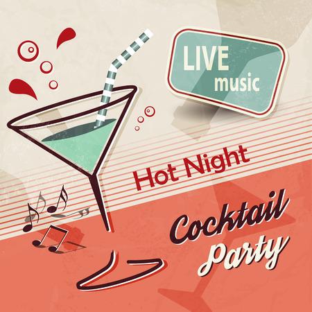 copa martini: Invitación de la fiesta de verano con el cóctel de vidrio y de la música - diseño retro del cartel