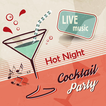 vintage texture: Summer party invitation with cocktail glass and music notes - retro poster design Illustration