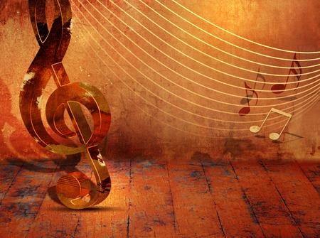 Grunge muziek achtergrond met muziek noten op notenbalk Stockfoto